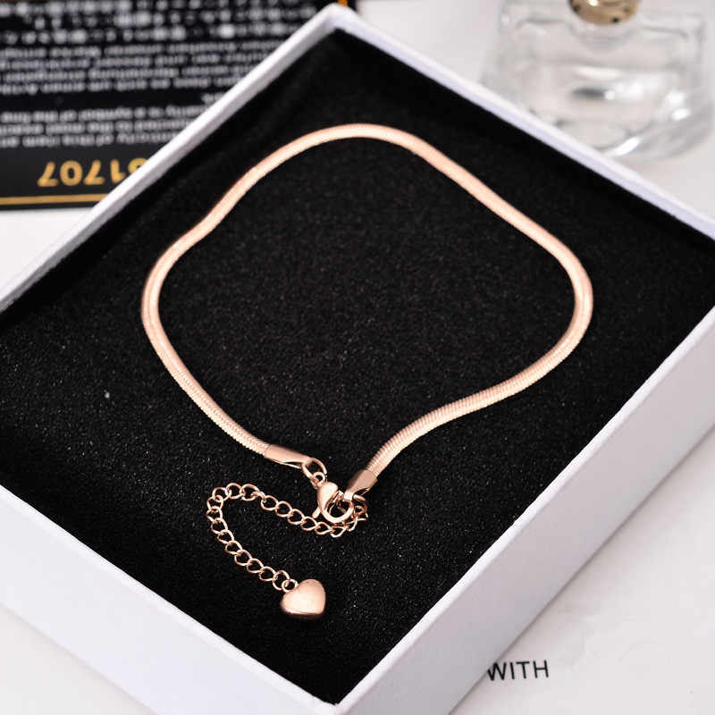YUN RUO 2018 New Fashion Rose Gold Color Snake Chian Anklet Chic Style Woman 316 L Titanium Steel Jewelry Top Quality Never Fade