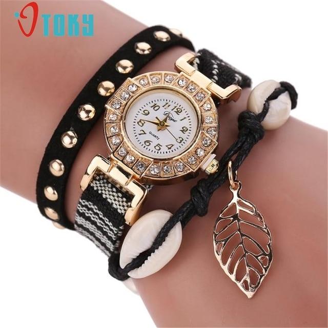 OTOKY Fashion Clock Quartz Watch Women Dress Leather Wristwatches Casual Leaf Pe