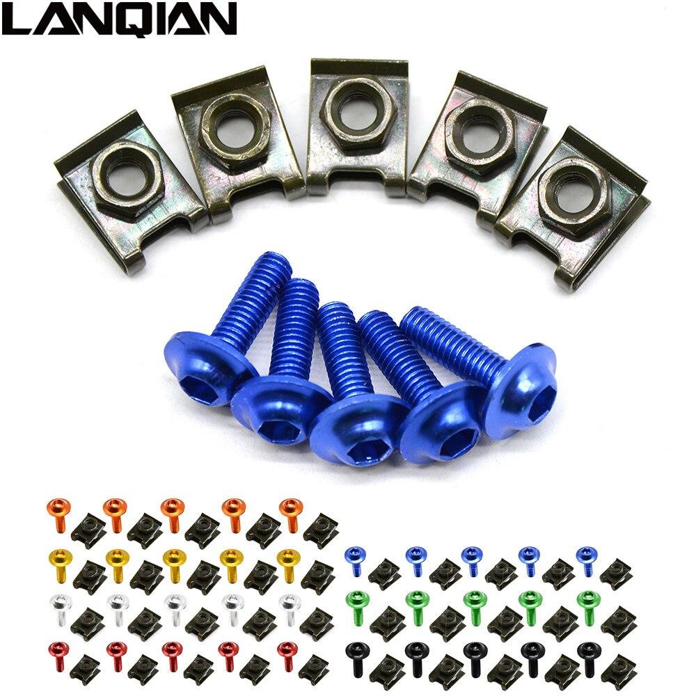 6mm Motorbike CNC Fairing body work Bolts Screws 5 pcs For mv agusta f4 Yamaha MT-07 MT-09 FZ9 FZ-09 SR/FZ9 Tmax 500