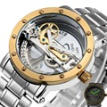 Top Venda de Luxo Golden Bridge Esqueleto Relógio Auto-Vento dos homens Mecânicos Cinta de Aço Inoxidável Relógio de Pulso Estilo De Negócio Vestido