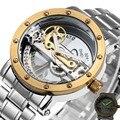 Top Venta de Puente De Oro de Lujo Reloj de Los Hombres Esqueleto Mismo-Viento Mecánico Correa de Acero Inoxidable Reloj de pulsera de Estilo de Negocios Vestido