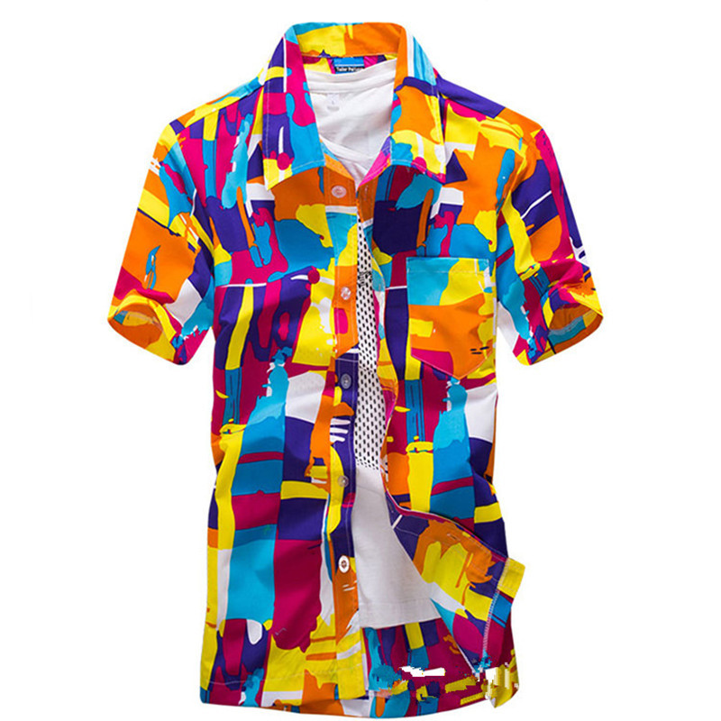 2018 Mens Summer Beach Lapel Neck Front Buttons Down Short Sleeves Floral Tops Casual Hawaii Vocation Slim Fit Shirts Size S-2XL