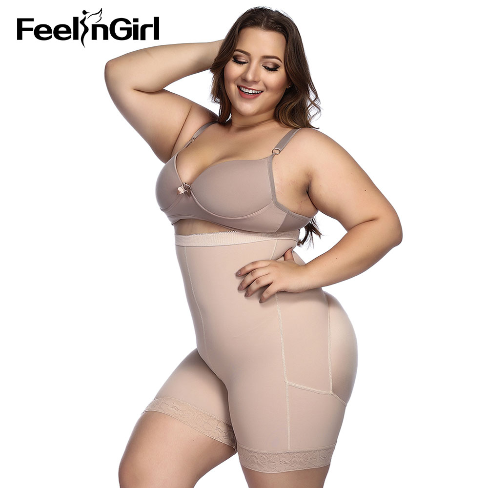 FeelinGirl Womens Lace Bodyshaper Breathable Double Firm Control Shapewear Black,Plus Size