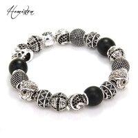 Thomas Style KM Bead Bracelet With OWL Cross MAORI Zigzag Skull Beads 925 Silver Rebel Heart