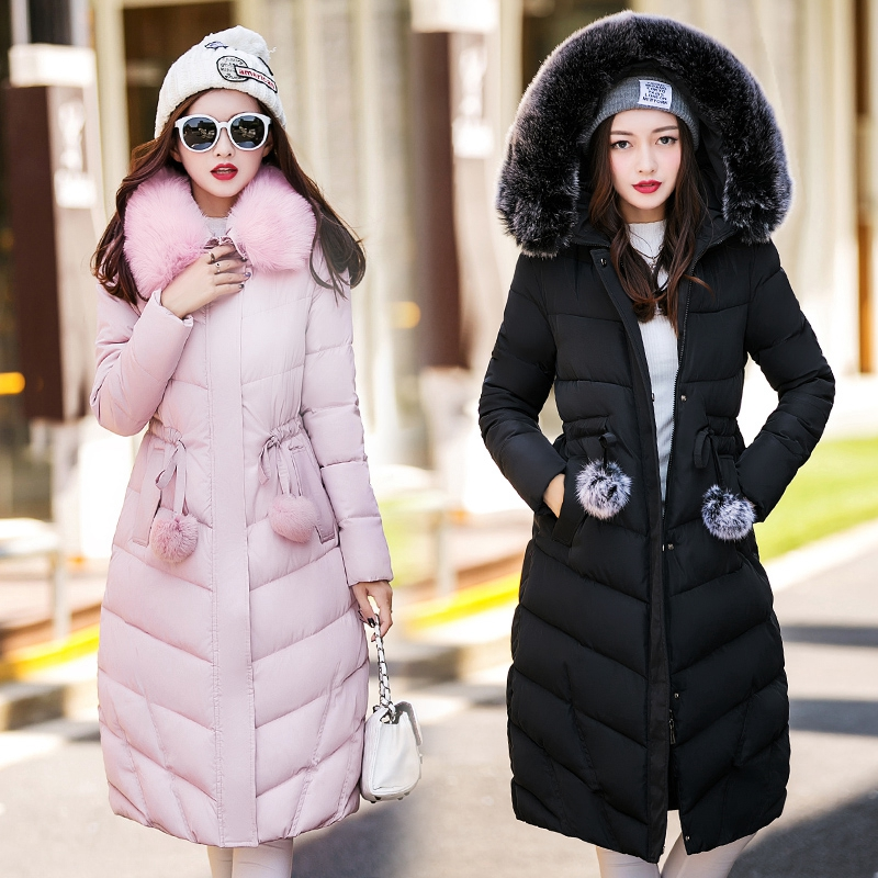 2016 Cotton Padded Women Down In The Long Thick Winter Coat Fur Collar Big Slim Winter