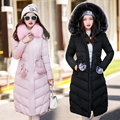 2016 Cotton Padded Women Down In The Long Thick Winter Coat Fur Collar Big Slim Winter Jacket Women Down Coat Women Jacket Parka