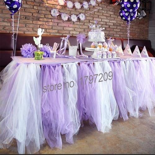 1 Pcs 22mx15cm Light Purple Wedding Table Runner Decor Tulle Yarn
