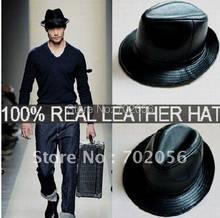 LEATHER BUCKET HAT Top Hats Fedoras TOP HAT GENTLEMAN HAT CAP 10pcs lot 1961 245f780aae2a