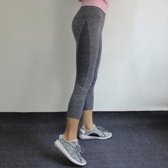 Профессиональный фитнес-спортивные укороченные Штаны женский давление дышащий Fast Dry плотно талии Yoga 2017 Весна нейлон