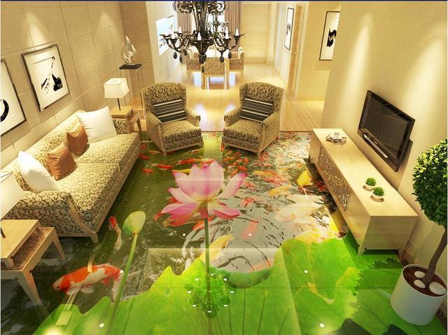 3d Fußboden Wolken ~ Wasserdichte wandmalereien d bodenbelag koi lotus pvc