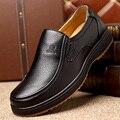 Плюс Размер 38-48 Мужская Обувь Черная Кожа Квартиры Мягкая Деловой Человек обуви Скольжения На Loafers Формальные Обувь для Мужчин Оксфорд Туфли Коричневые