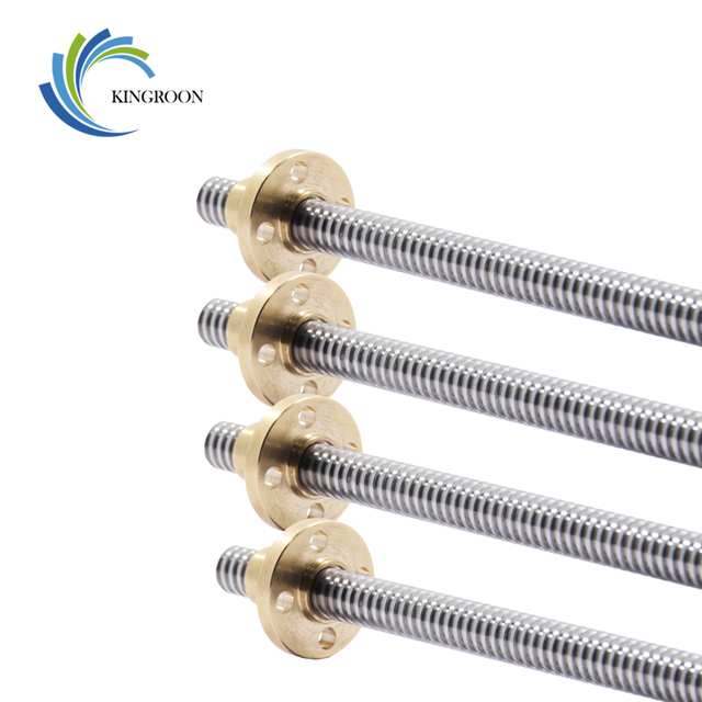 T8 Lead Screw OD 8mm Pitch 2mm Lead 2mm 150mm 200mm 250mm 300mm 330mm 350mm 400mm 500mm With Brass Nut For Reprap 3D Printer 4