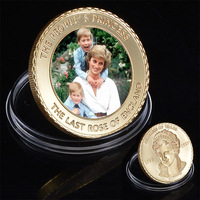 WR United Kingdom Princess Diana 24k Gold Coin Collectible The Last Rose of England Challenge Coins Worth Collection