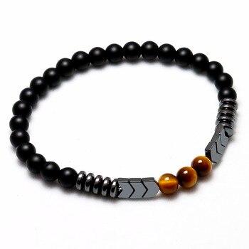 Trendy Natural Matte Black Onyx Beads With Tiger Eye Strand Bracelet 1