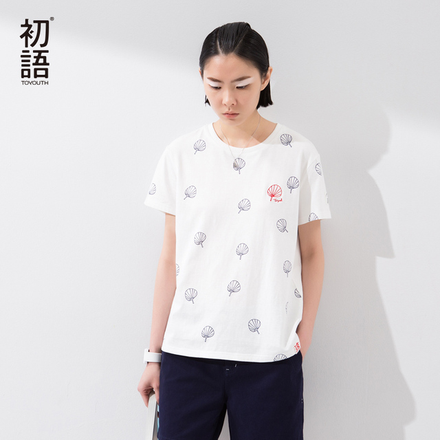 Toyouth 2017 New Arrival Summer Women Fashion O-Neck Printed Literature Personalise Casual Loose Female T-Shirt