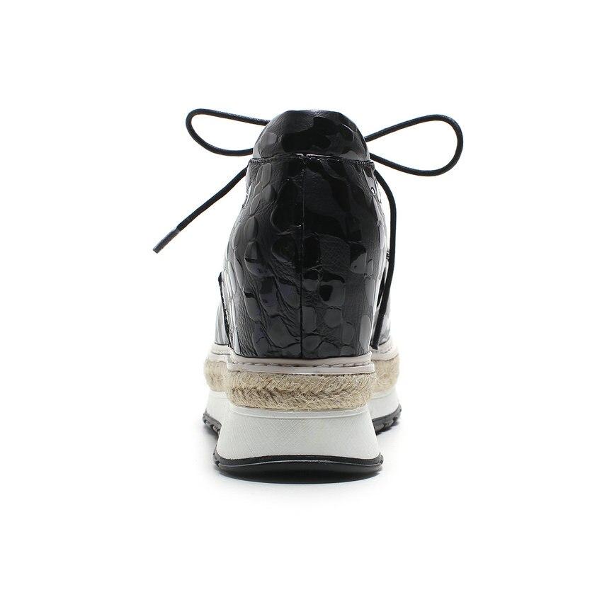 Lacent Plate Rond Pompes Vache Taille Cuir 34 Esveva 42 Pu Croissante Talons Hauteur Dames Casual Bout Femmes Noir Haute forme En 2018 Chaussures D2EIWH9