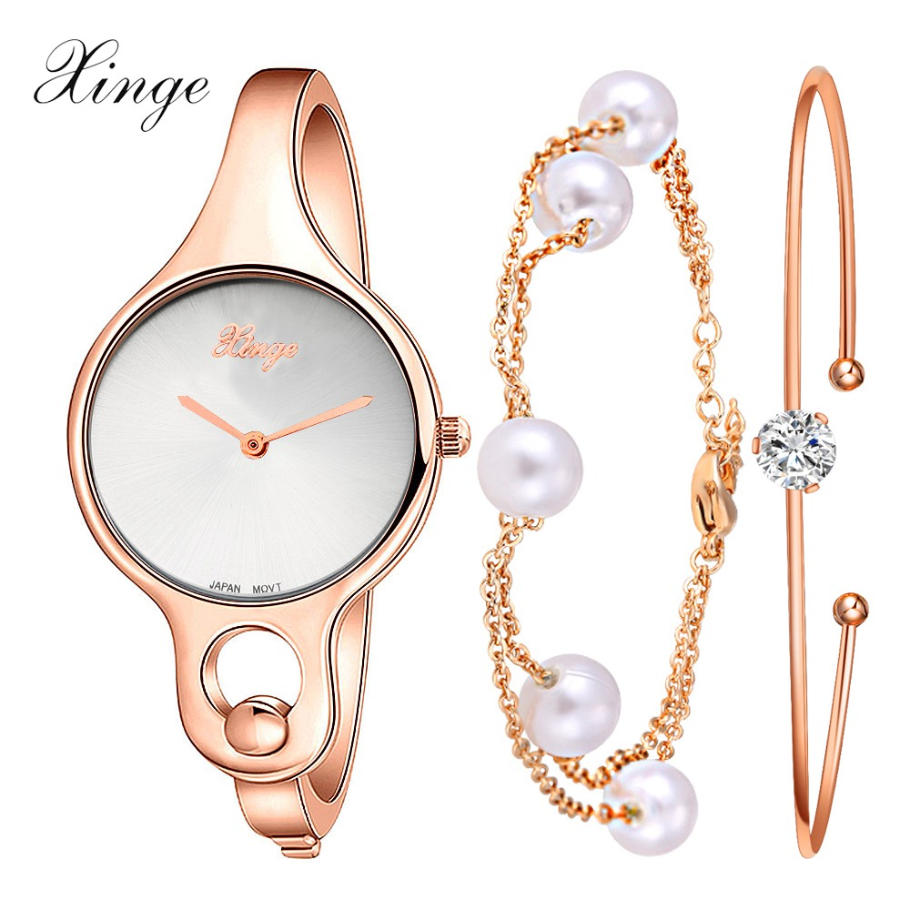 Xinge Brand Luxury Fashion Popular Watches Women Rhinestone Pearl Bracelet Wristwatch Set Women Female Dress Clock Watch xinge fashion brand popular watch women believe in yourself bracelet crystal wristwatch set girls gift clock women 2018 watches