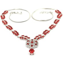 Luxury Big Heavy 20.0g Red Blood Ruby White CZ Ladies Wedding Silver Necklace 18.5-19inch 48x36mm