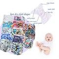 Fileiras duplas encaixar fralda de pano com novas estampas, kawaii do tecido do bebê com bolso, reutilizável, fralda lavável