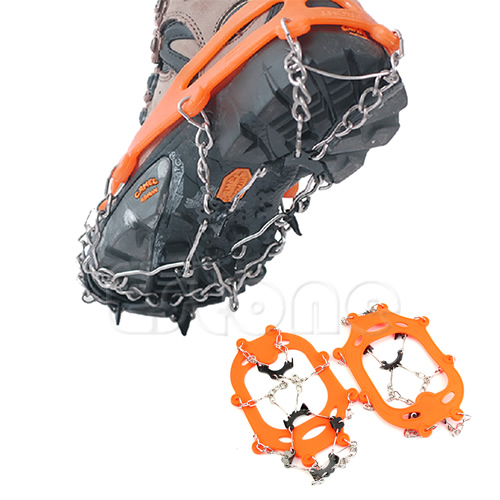 THINKTHENDO8 Teeth Climb Ice Snow Magic Spike Anti Slip Shoe Grips Cleats Crampons Footwear round snow ice climbing mountaineering shoes crampons orange pair