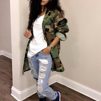 Women Long Coat Oversized Casual Mini Dress Military Ladies Jacket Cotton Plus Size Club Coat Party Army Green Sexy Camouflage