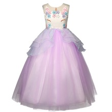 Big Girl Princess Unicorn Costume Tulle Tutu Dress Summer Flowers Sleeveless Costume Birthday Party Fancy up Dress Purple 4-16Yr недорго, оригинальная цена