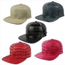 Крокодил Искусственная Кожа Strapback Бейсбол Кепки Аллигатор PU стиль Snapback Мода шляпу кожаная Кепки и шляпа кожаный аксессуар
