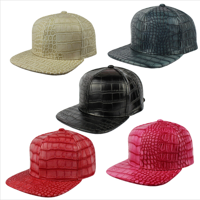 Crocodile Faux Leather Strapback Baseball Cap Alligator PU New Style  Snapback Fashion Hat Leather cap and 10c0d72d05d
