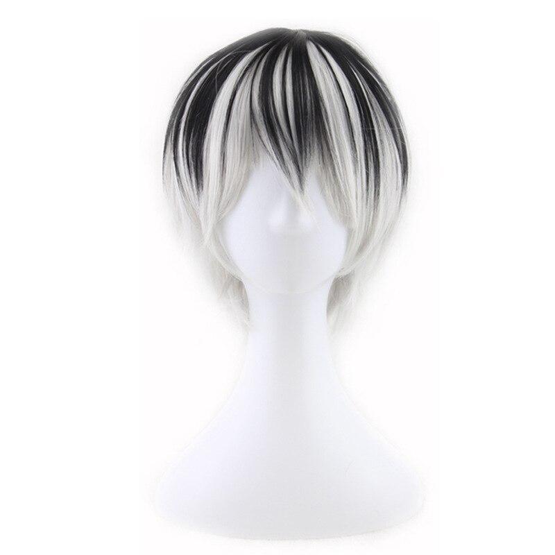 Preto curto cinza perucas sintéticas para o dia das bruxas cosplay trajes para homem adulto coser peruca peluca perruque