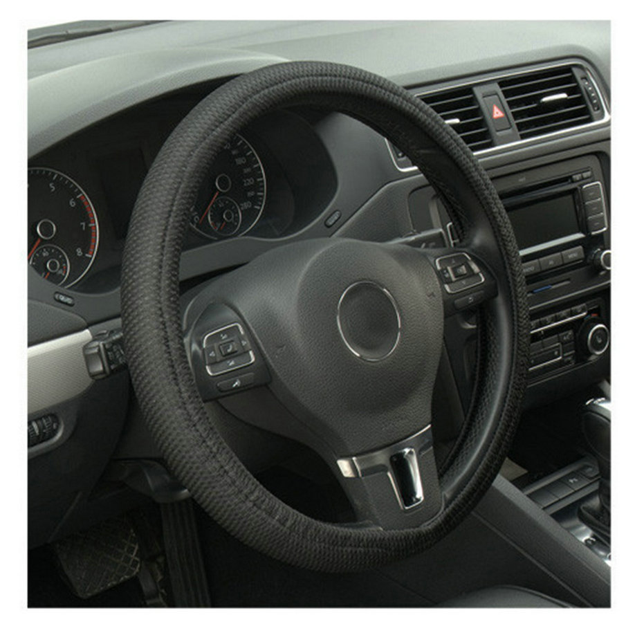 2017 Hot Selling Car Auto Universal Elastic Handmade Skidproof Steering Wheel Cover Blue/Black Car-styling