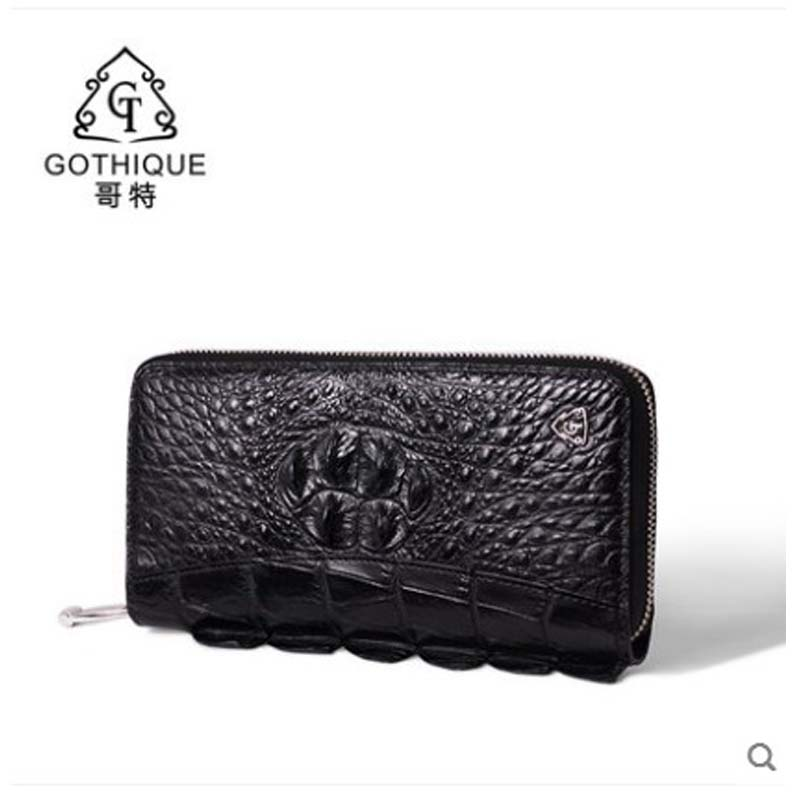 gete 2019 New Thai crocodile leather men clutches for men large capacity personalized tail fin stitching long purse men handbag