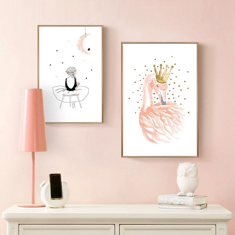Nordic poster girl canvas posters and prints flamingo - Cuadros posters laminas ...