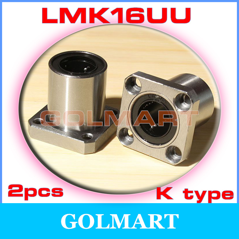 2pcs LMK16UU 16mm Square Flange Type Linear Bearing Ball Bushing 16x28x37mm