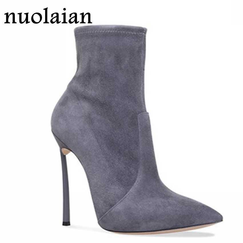 10.5 CM Siyah Süet Deri Çizmeler Kadın Kış Yüksek Topuk Ayakkabı Kadın Sivri Burun Orta Buzağı Çizmeler kadın Yüksek topuklu Çorap Çizme