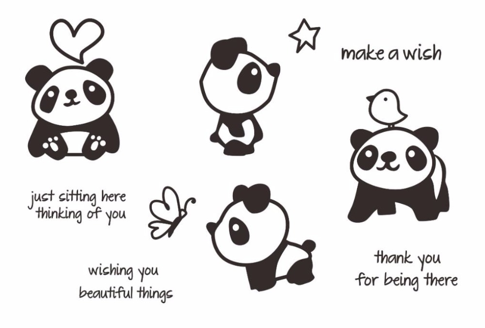 Hot Sale Cute panda Transparent Clear Silicone Stamps for DIY ...