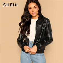 SHEIN Black Zip Up Faux Leather Bomber Jacket Casual Stand Collar Pocket Plain