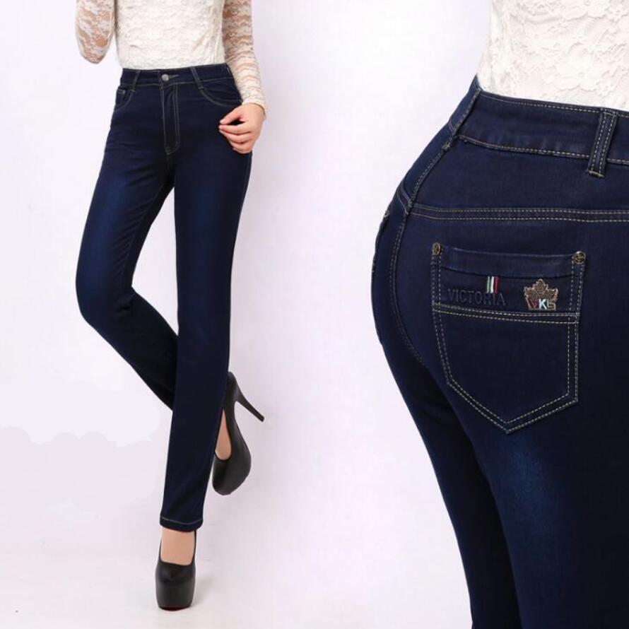 27-38 Jeans Әйелдер шалбары Жоғары белдемесі Plus Size Denim Pant Теріс джинсы Woman Мақта Қалың Жан Әйелдер үшін Elastic Pencil шалбар