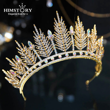 Himstory Gold/Silver Large Vintage Baroque Wedding Queen Crown Crystal Prom Rhinestone Pageant Tiara Bridal Hair Accessories