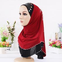 Svendita Hijab musulmano sciarpa femminile stile etnico foulard islamico (parte frontale motivo perline paillettes casuali o cristallo)