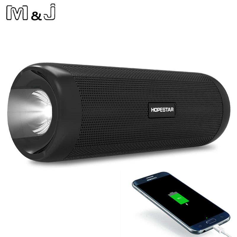 HOPESTAR P4 Outdoor Wireless Bluetooth Speaker Power Bank 10W Portable Bass Stereo Loudspeaker MP3 Handsfree With Mic Flashlight t6 bluetooth 3 0 speaker with handsfree function songs track mic