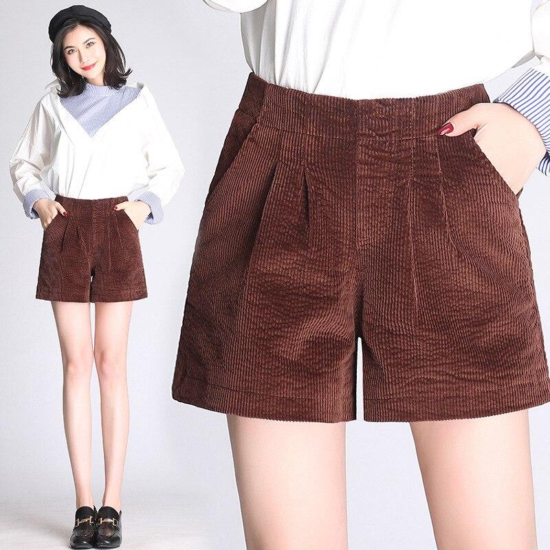 Hoge Taille Shorts Vrouwelijke Nieuwe Koreaanse Versie Van De Eenvoudige Corduroy Dikke Been Broek Herfst En Winter Dragen