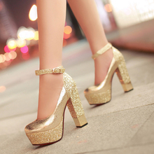 Fashion high-heeled shoes thick heel platform paillette gold silver wedding shoes women bridal dress shoes formal shoes for lady