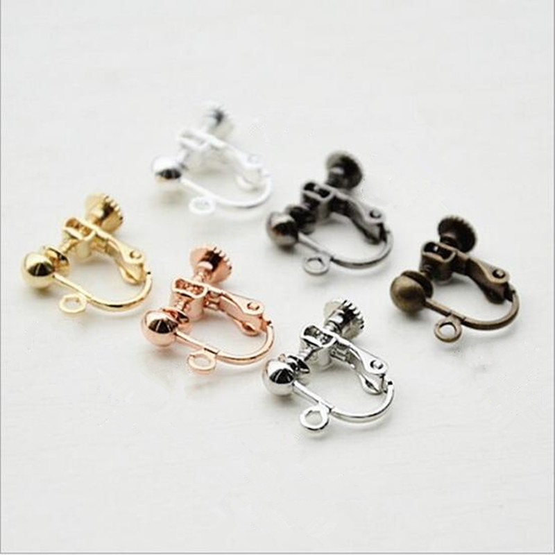 Earwire Clip with Pearl Plugs 20PCS Adjustable Screw Earrings for Jewelries
