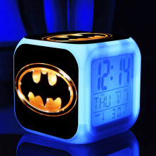 New Digital Alarm Seven colors of light glow changing Hero batman bat man Thermometer touch light Night Colorful Glowing