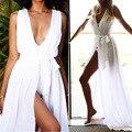 Estilo de bohemia vestido largo robe jurkjes strand beach dress de la gasa traje de baño 2017 del traje de baño las mujeres traje de baño verano piso maxi largo