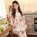 2XL 3XL de las mujeres de manga larga dormir de algodón pijama mujer ropa de dormir señora adolescente floral Pijamas camisones pijamas ropa de dormir