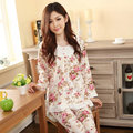2XL 3XL women long-sleeve cotton sleep pajama sets female nightwear lady floral Pyjamas nightgowns teenage pijamas sleepwear