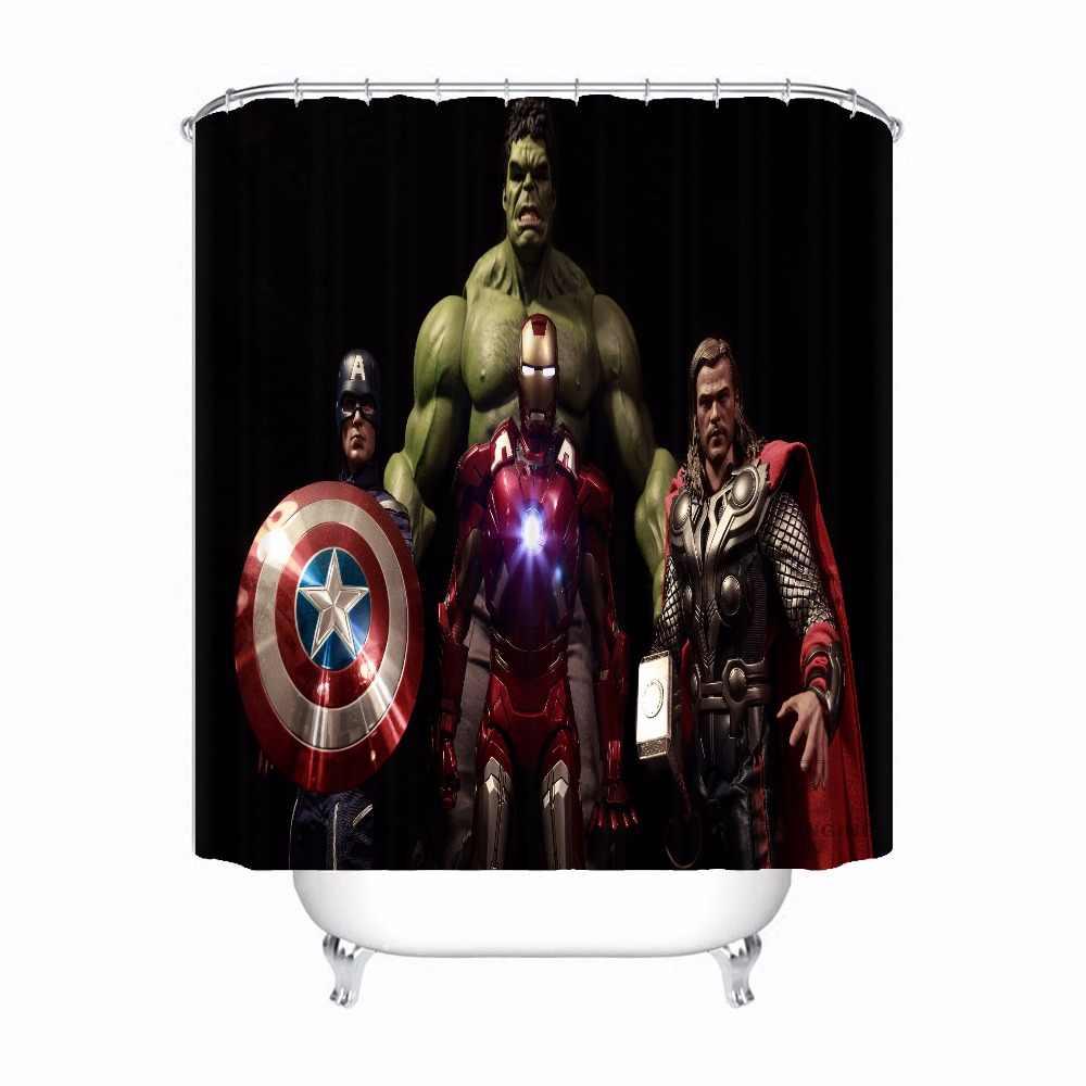 Custom מארוול Deadpool האלק מקלחת אמבט וילון Mildewproof עמיד למים פוליאסטר שונים גדלים #0421-21-09