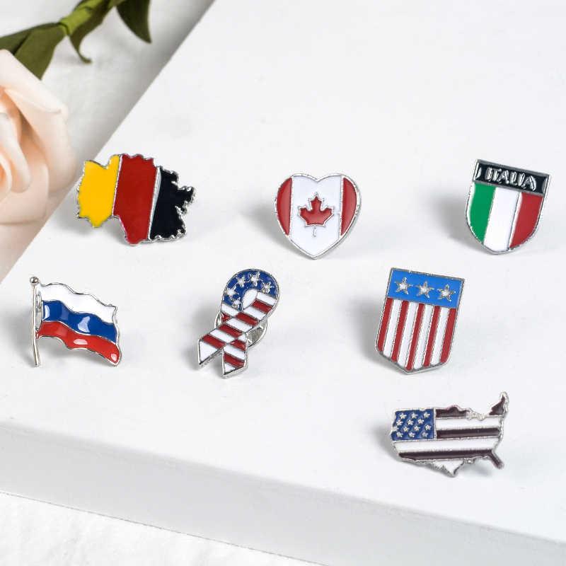 Bendera Nasional Tanda Enamel Pin Amerika Serikat Jerman Kanada India Rusia Bros Lencana Mencerminkan Sejarah Perwakilan Perhiasan