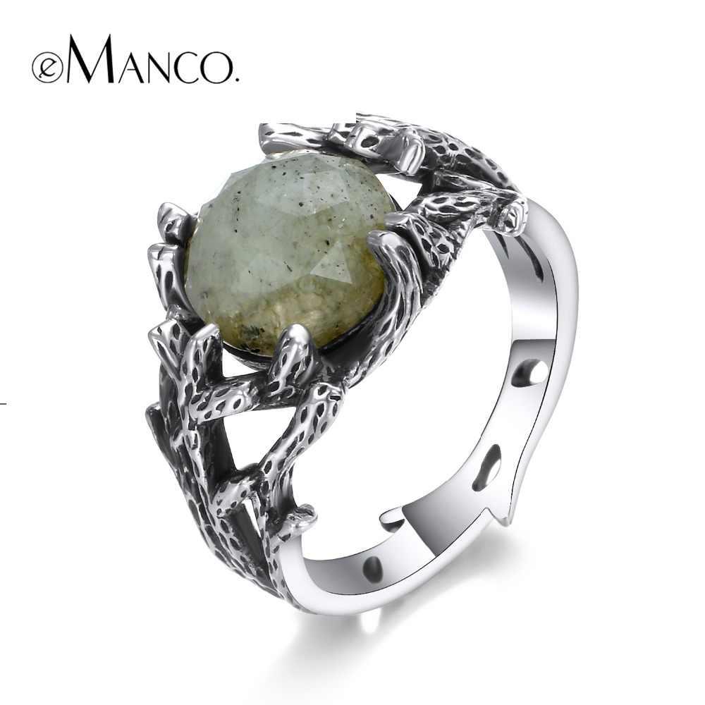 E-Manco 925 เงินสเตอร์ลิงหินธรรมชาติเครื่องประดับหมั้นพืชแหวนเงินแฟชั่นเครื่องประดับของขวัญ